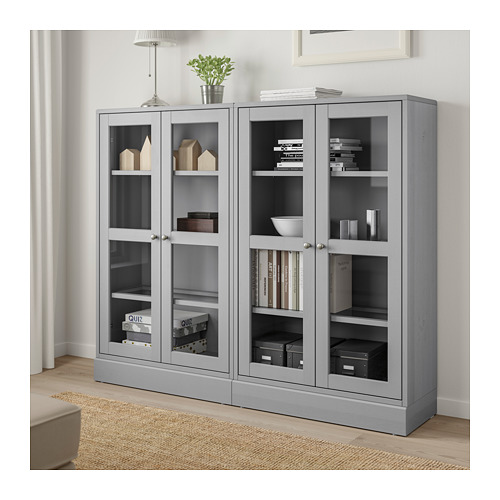 HAVSTA - storage combination w glass doors, grey | IKEA Hong Kong and Macau - PE693041_S4
