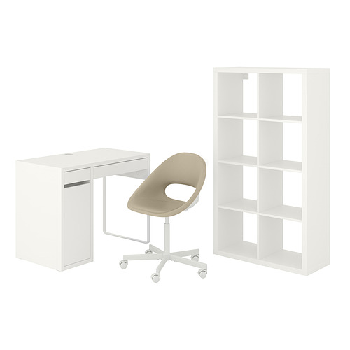 MICKE/ELDBERGET/KALLAX - desk and storage combination, and swivel chair white/beige   IKEA Hong Kong and Macau - PE834565_S4