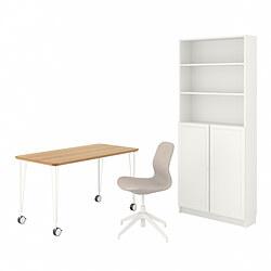 BILLY/OXBERG/ANFALLARE/LÅNGFJÄLL - 書檯連貯物組合, and swivel chair bamboo/beige white | IKEA 香港及澳門 - PE834572_S3