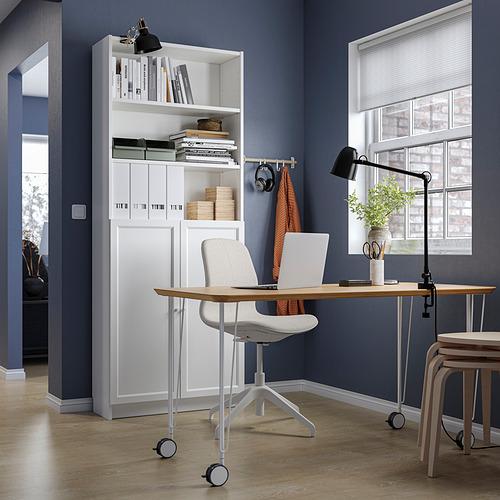 BILLY/OXBERG/ANFALLARE/LÅNGFJÄLL - 書檯連貯物組合, and swivel chair bamboo/beige white | IKEA 香港及澳門 - PE834574_S4