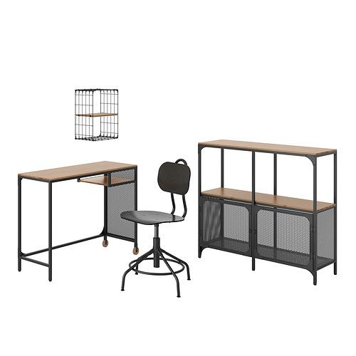 FJÄLLBO/KULLABERG/GULLHULT - 書檯連貯物組合, and swivel chair black/pine   IKEA 香港及澳門 - PE834581_S4