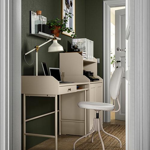 HAUGA/BJÖRKBERGET - 書檯連貯物組合, and swivel chair beige | IKEA 香港及澳門 - PE834600_S4