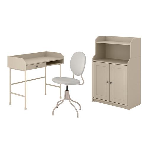 HAUGA/BJÖRKBERGET - 書檯連貯物組合, and swivel chair beige | IKEA 香港及澳門 - PE834601_S4