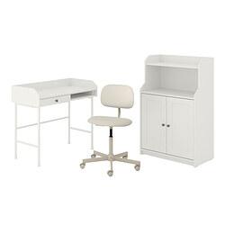 HAUGA/BLECKBERGET - 書檯連貯物組合, and swivel chair white/beige | IKEA 香港及澳門 - PE834602_S3