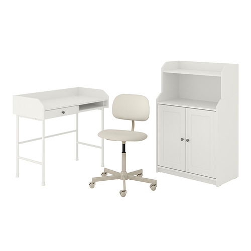 HAUGA/BLECKBERGET - 書檯連貯物組合, and swivel chair white/beige | IKEA 香港及澳門 - PE834602_S4