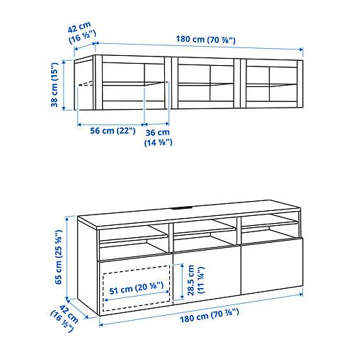 BESTÅ - 電視貯物組合/玻璃門, white stained oak effect/Selsviken high-gloss/white clear glass | IKEA 香港及澳門 - PE834617_S4
