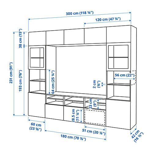 BESTÅ - 電視貯物組合/玻璃門, black-brown/Selsviken high-gloss/brown clear glass | IKEA 香港及澳門 - PE834629_S4