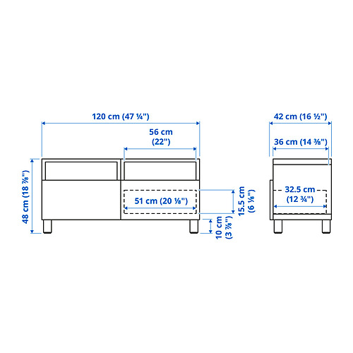 BESTÅ - 電視几連抽屜, white/Hedeviken/Stubbarp oak veneer | IKEA 香港及澳門 - PE834623_S4