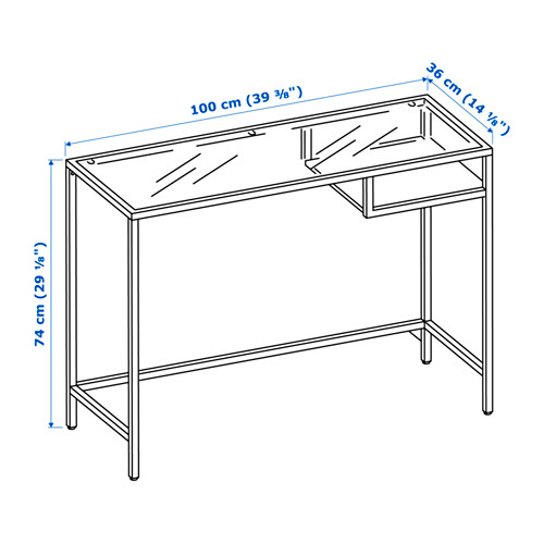 VITTSJÖ - laptop table, 100x36x74 cm, black-brown/glass | IKEA Hong Kong and Macau - PE645237_S4