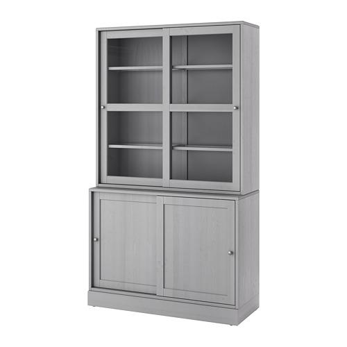 HAVSTA storage comb w sliding glass doors