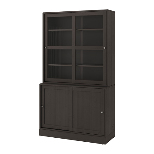 HAVSTA storage comb w sliding glass doors