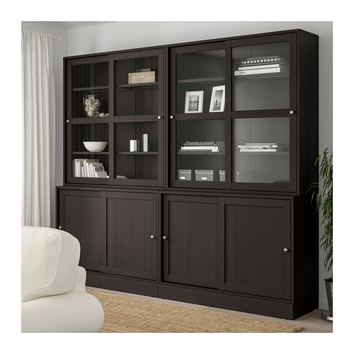 HAVSTA - storage comb w sliding glass doors, dark brown | IKEA Hong Kong and Macau - PE693121_S4