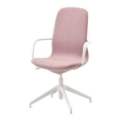 LÅNGFJÄLL 旋轉椅連扶手, gunnared 淺粉褐色/白色