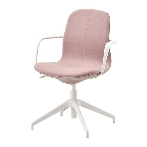 LÅNGFJÄLL 旋轉椅連扶手, gunnared 淺褐粉色/白色