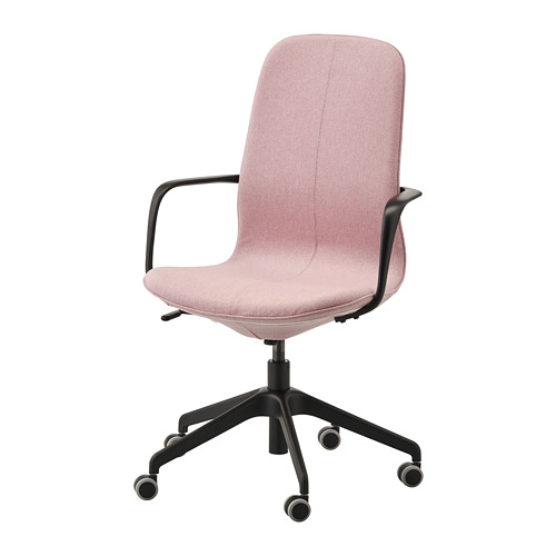 LÅNGFJÄLL - office chair with armrests, Gunnared light brown-pink/black | IKEA Hong Kong and Macau - PE735460_S4