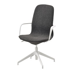 LÅNGFJÄLL - conference chair with armrests, Gunnared dark grey/white   IKEA Hong Kong and Macau - PE735475_S3