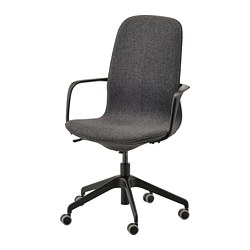 LÅNGFJÄLL - office chair with armrests, Gunnared dark grey/black | IKEA Hong Kong and Macau - PE735485_S3