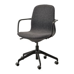 LÅNGFJÄLL - office chair with armrests, Gunnared dark grey/black | IKEA Hong Kong and Macau - PE735482_S3