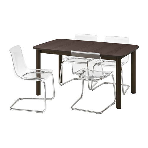 STRANDTORP/TOBIAS - table and 4 chairs, brown/transparent | IKEA Hong Kong and Macau - PE789595_S4