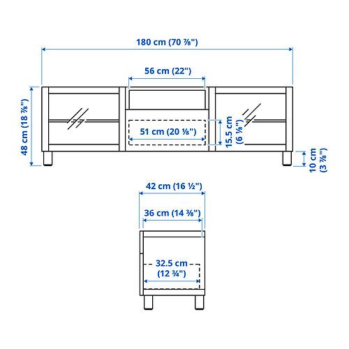 BESTÅ - TV bench, white/Hanviken/Stubbarp white clear glass | IKEA 香港及澳門 - PE834626_S4
