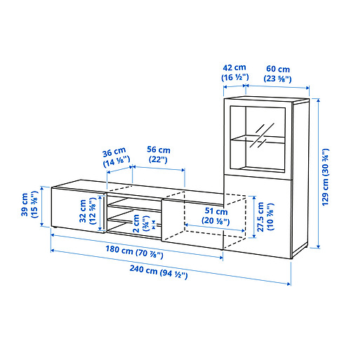 BESTÅ - 電視貯物組合/玻璃門, white/Selsviken high-gloss/white frosted glass | IKEA 香港及澳門 - PE834628_S4