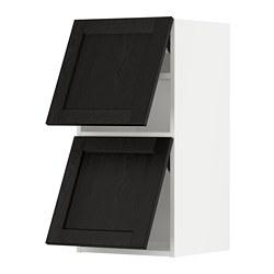 METOD - wall cab horizo 2 doors w push-open, white/Lerhyttan black stained | IKEA 香港及澳門 - PE789612_S3