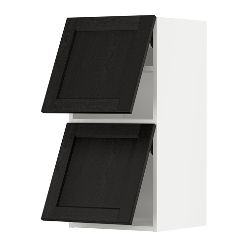 METOD - wall cab horizo 2 doors w push-open, white/Lerhyttan black stained | IKEA Hong Kong and Macau - PE789612_S4