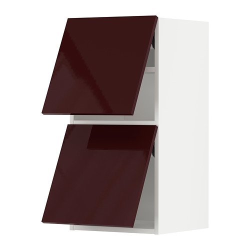 METOD - wall cabinet horizontal w 2 doors, white Kallarp/high-gloss dark red-brown | IKEA Hong Kong and Macau - PE789619_S4