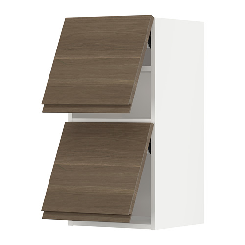 METOD - wall cab horizo 2 doors w push-open, white/Voxtorp walnut effect | IKEA Hong Kong and Macau - PE789635_S4