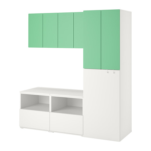 PLATSA/SMÅSTAD - storage combination, white green/with pull-out | IKEA Hong Kong and Macau - PE789680_S4
