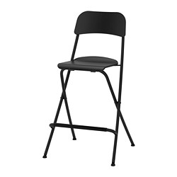 FRANKLIN - bar stool with backrest, seat height 63cm, foldable, black/black | IKEA Hong Kong and Macau - PE735710_S3