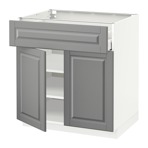 METOD/MAXIMERA - base cabinet with drawer/2 doors, white/Bodbyn grey | IKEA Hong Kong and Macau - PE518484_S4