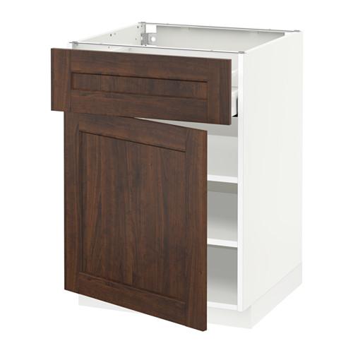 METOD/MAXIMERA - base cabinet with drawer/door, white/Edserum brown | IKEA Hong Kong and Macau - PE518567_S4