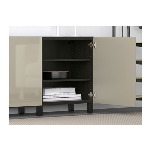 BESTÅ - storage combination with doors, black-brown/Selsviken high-gloss/beige | IKEA Hong Kong and Macau - PE583070_S4