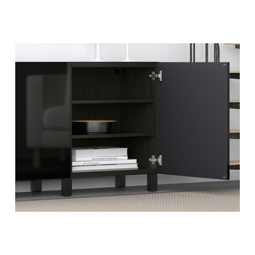 BESTÅ - storage combination with doors, black-brown/Selsviken high-gloss/black | IKEA Hong Kong and Macau - PE583079_S4