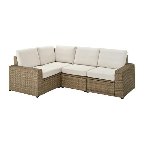 SOLLERÖN - modular corner sofa 3-seat, outdoor, brown/Frösön/Duvholmen beige | IKEA Hong Kong and Macau - PE735780_S4