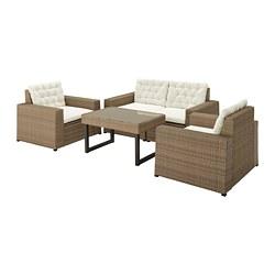 SOLLERÖN - 戶外四座椅組合, 褐色/Kuddarna 米黃色   IKEA 香港及澳門 - PE735827_S3