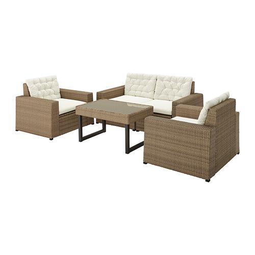 SOLLERÖN - 4-seat conversation set, outdoor, brown/Kuddarna beige | IKEA Hong Kong and Macau - PE735827_S4