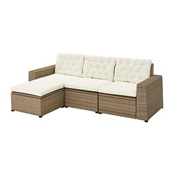 SOLLERÖN - 3-seat modular sofa, outdoor, with footstool brown/Kuddarna beige | IKEA Hong Kong and Macau - PE735829_S3