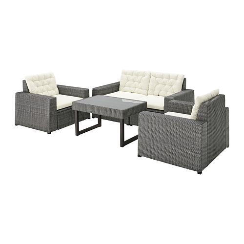 SOLLERÖN - 4-seat conversation set, outdoor, dark grey/Kuddarna beige | IKEA Hong Kong and Macau - PE735830_S4
