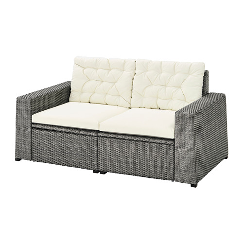 SOLLERÖN - 2-seat modular sofa, outdoor, dark grey/Kuddarna beige   IKEA Hong Kong and Macau - PE735839_S4