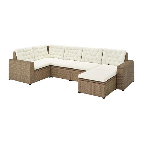 SOLLERÖN - modular corner sofa 4-seat, outdoor, with footstool brown/Kuddarna beige | IKEA Hong Kong and Macau - PE735850_S4