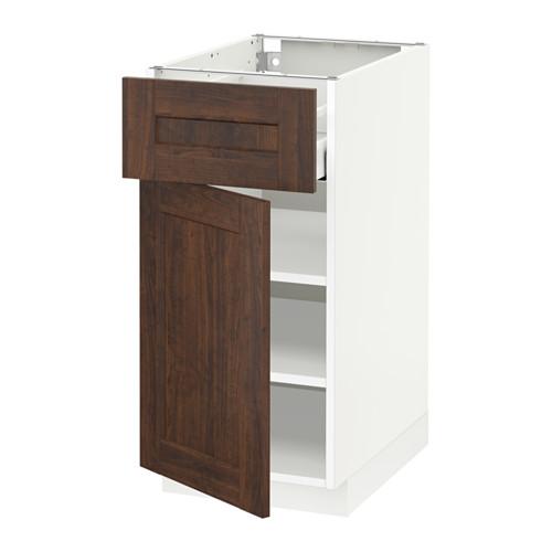 METOD/MAXIMERA - base cabinet with drawer/door, white/Edserum brown   IKEA Hong Kong and Macau - PE518631_S4