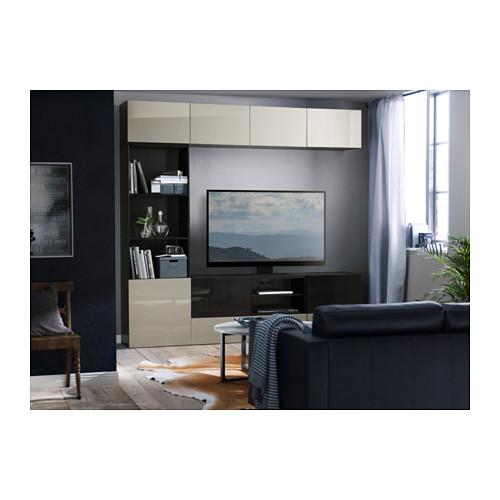 BESTÅ - 電視貯物組合/玻璃門, 棕黑色/Selsviken 光面/米色 茶色玻璃 | IKEA 香港及澳門 - PH128363_S4