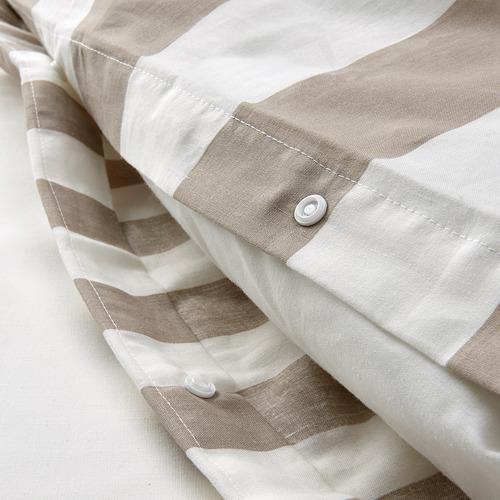 BÄRALM - 被套連2個枕袋, 白色 米黃色/條紋, 240x220/50x80 cm | IKEA 香港及澳門 - PE789995_S4