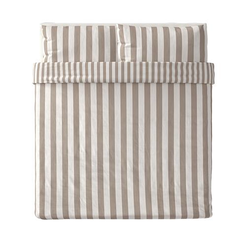 BÄRALM - 被套連2個枕袋, 白色 米黃色/條紋, 240x220/50x80 cm | IKEA 香港及澳門 - PE789990_S4