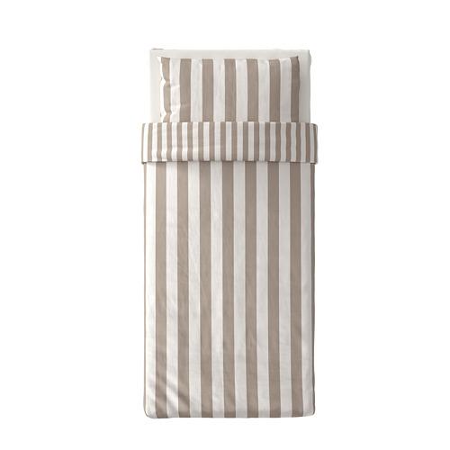 BÄRALM - 被套枕袋套裝, 白色 米黃色/條紋, 150x200/50x80 cm   IKEA 香港及澳門 - PE789999_S4