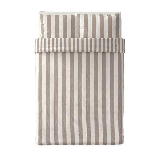 BÄRALM - 被套連2個枕袋, 白色 米黃色/條紋, 200x200/50x80 cm | IKEA 香港及澳門 - PE789991_S4