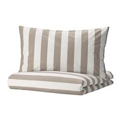 BÄRALM - quilt cover and pillowcase, white beige/stripe, 150x200/50x80 cm | IKEA Hong Kong and Macau - PE789996_S3