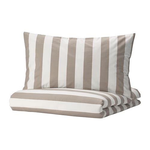 BÄRALM - 被套連2個枕袋, 白色 米黃色/條紋, 240x220/50x80 cm | IKEA 香港及澳門 - PE789996_S4